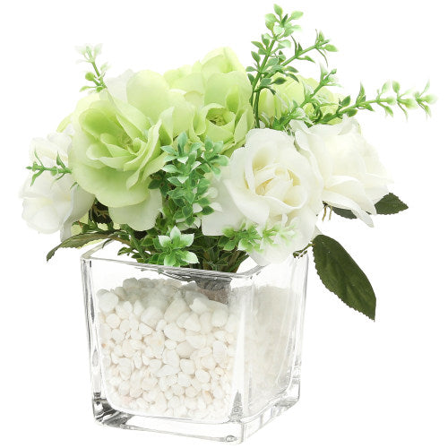 Decorative Artificial Rose Arrangement in Clear Glass Cube-MyGift