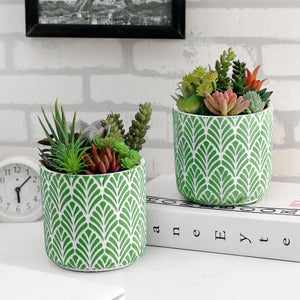 Concrete Planter Pots w/ Embossed Green Leaf Pattern, Set of 2