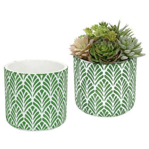 Concrete Planter Pots w/ Embossed Green Leaf Pattern, Set of 2-MyGift