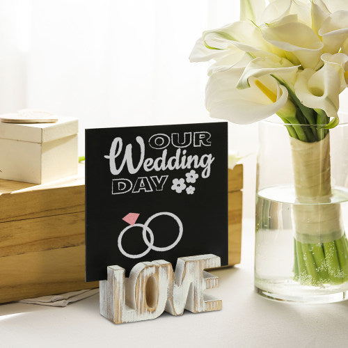 Whitewashed Wood Chalkboard Signs w/ Cutout LOVE Letters, Set of 4