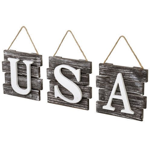 "Rustic Torched Wood ""USA"" Wall Decor"