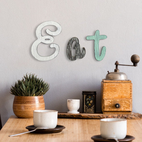 Multicolor Wood Italic Cutout Letter EAT Sign