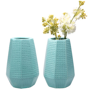 Sky Blue Ceramic Flower Vase w/ Dimpled Design, Set of 2-MyGift