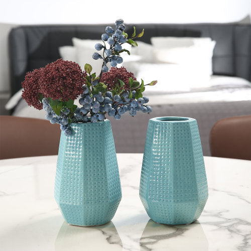 Sky Blue Ceramic Flower Vase w/ Dimpled Design, Set of 2