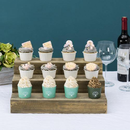 Reclaimed Style Wood Dessert Stand Riser Display-MyGift