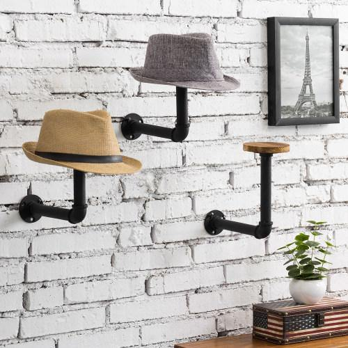 Metal Pipe & Wood Wall Mounted Hat & Wig Holder, Set of 3