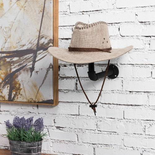 Metal Pipe & Wood Wall-Mounted Hat & Wig Holder