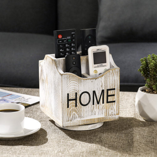 360-Degree Rotating Whitewashed Wood Remote Control Holder Caddy