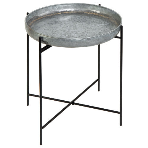 Rustic Silver Galvanized Metal Tray End Table