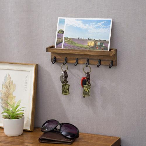 Dark Brown Burnt Wood Entryway Shelf with Mail Holder & Hooks-MyGift