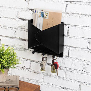 Industrial Style Black Metal Mail Organizer Rack with Hooks