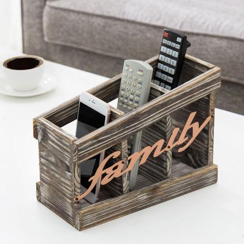 Torched Wood Remote Control Holder with Family Letter Design