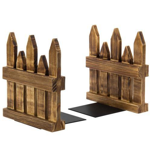 Rustic Burnt Wood Picket Fence Design Bookends-MyGift
