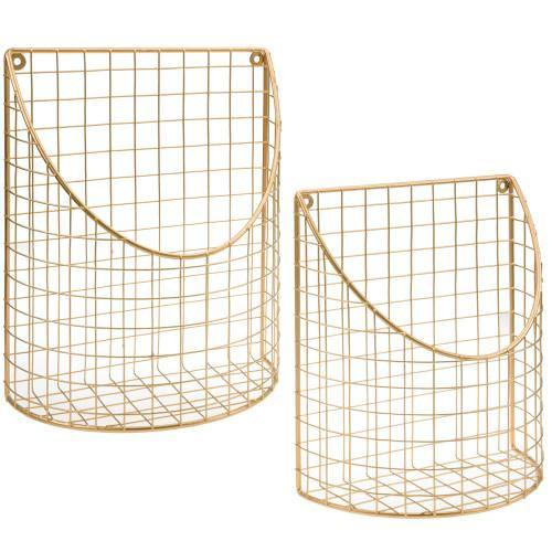 Brass Tone Metal Wire Storage Basket, Set of 2-MyGift