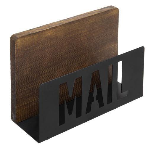 Burnt Wood and Black Metal Mail Sorter with Cutout Letters - MyGift