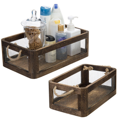 Dark Brown Wood and Metal Wire Storage Crates, Set of 2-MyGift
