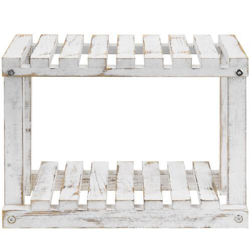 Freestanding Whitewashed Wood Plant Stand - MyGift