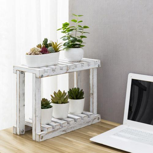 Freestanding Whitewashed Wood Plant Stand