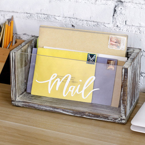 Rustic Torched Wood Mail Organizer with Acrylic Front Panel-MyGift