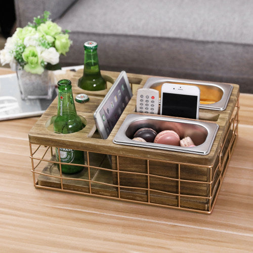 All-in-One Entertainment Snack Tray w/ Burnt Wood & Copper Wire & Accessory Holder