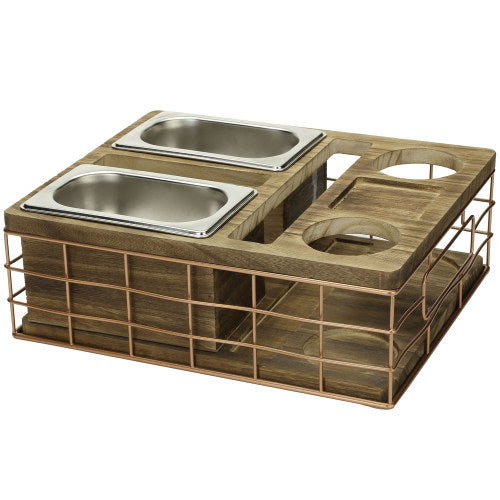 All-in-One Entertainment Snack Tray w/ Burnt Wood & Copper Wire & Accessory Holder-MyGift