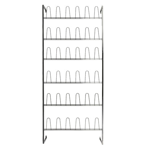 Wall Mounted Black Metal 36 Hook Shoe Rack-MyGift