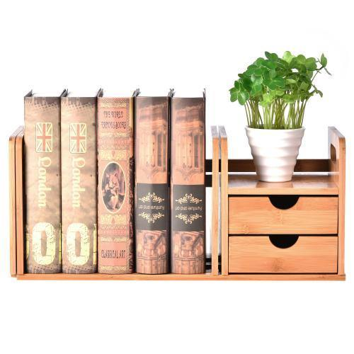 Natural Bamboo Desk Organizer w/ Bookshelf and Drawers - MyGift