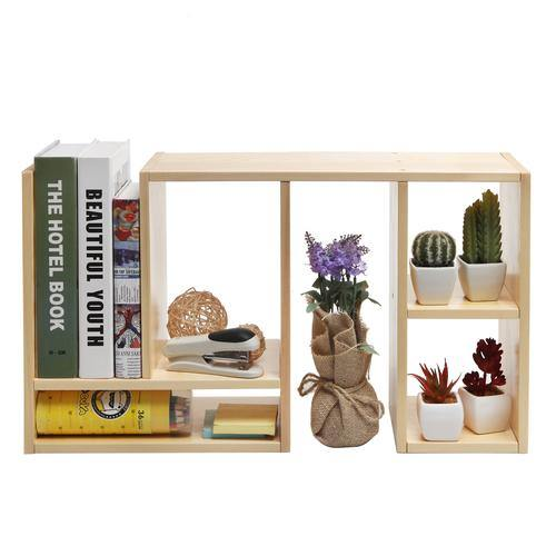 Beige Wood Adjustable Desktop Shelf