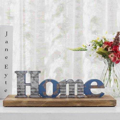 Blue Galvanized Metal Sign with Rustic Wood Base-MyGift