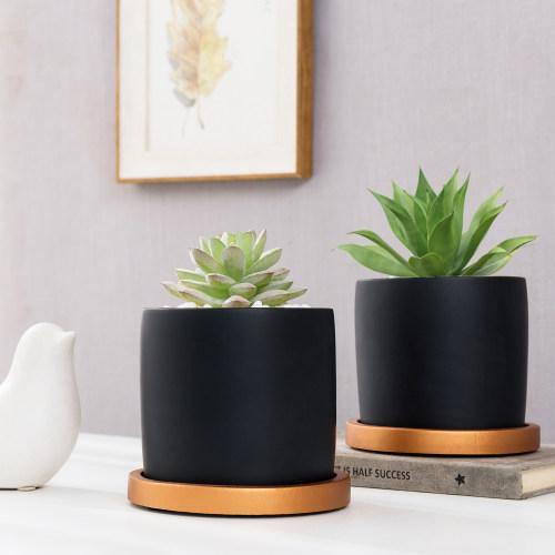 Matte Black Cement Planter with Copper Tone Saucers, Set of 2 - MyGift