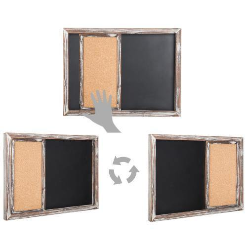 Torched Wood Wall-Mounted Magnetic Chalkboard & Sliding Cork Board - MyGift