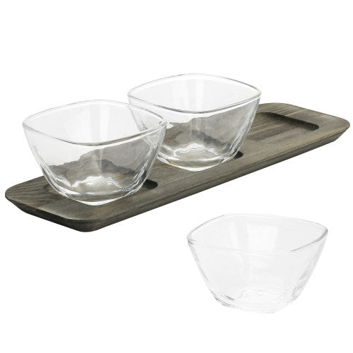 Gray Wood Serving Condiment Set w/ 3 Clear Glass Bowls-MyGift