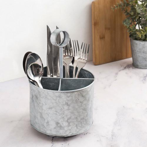 Galvanized Silver Metal Flatware Server Caddy