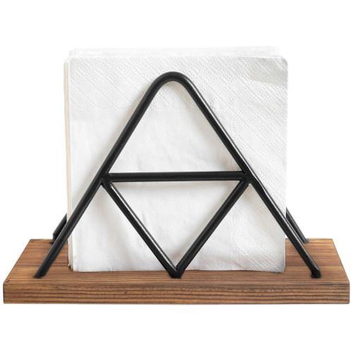 Triangle Design Metal Wire & Brown Wood Napkin Holder - MyGift