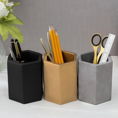 Hexagon Concrete Pencil Cup Set, Black, Gray & Gold-MyGift