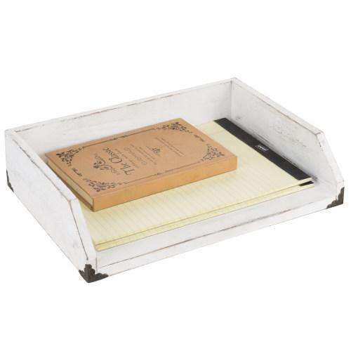 Vintage White Wood Stackable Document Tray-MyGift