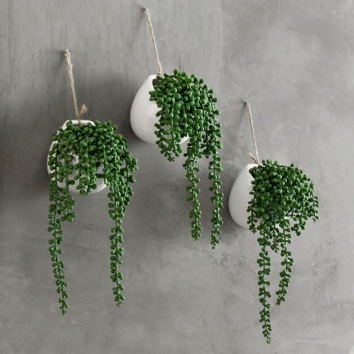 Artificial String of Pearls in White Ceramic Planter, Set of 3