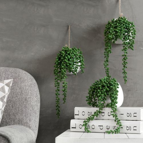 Artificial String of Pearls in White Ceramic Planter, Set of 3-MyGift
