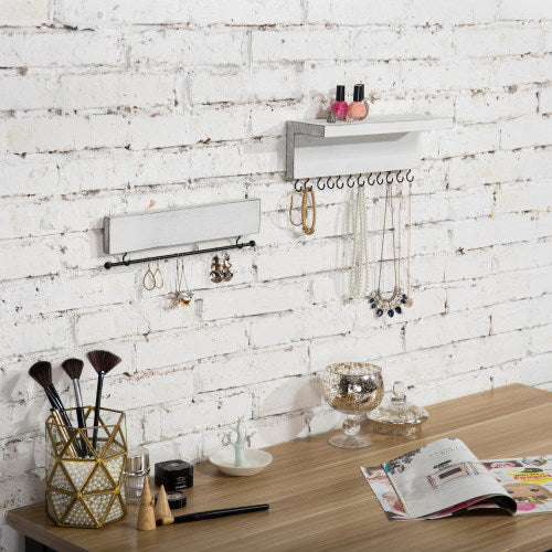 Vintage White Wood Wall-Mounted Jewelry Rack Set-MyGift