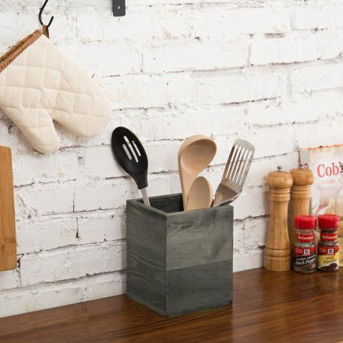 Gray Wood Kitchen Utensil Holder