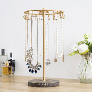 Rotating Brass Metal and Torched Wood Jewelry Tower