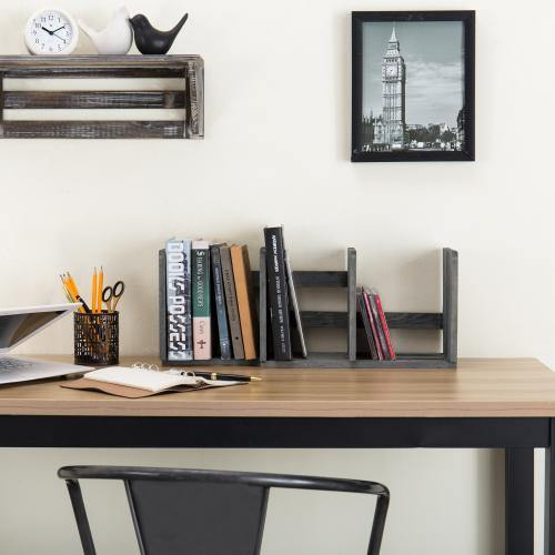 Gray Expandable Wood Desktop Bookshelf - MyGift