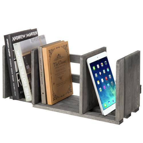 Gray Expandable Wood Desktop Bookshelf