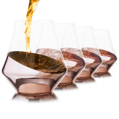 Whiskey Snifter Glasses with Luxury Angled Copper Design, Set of 4 - MyGift