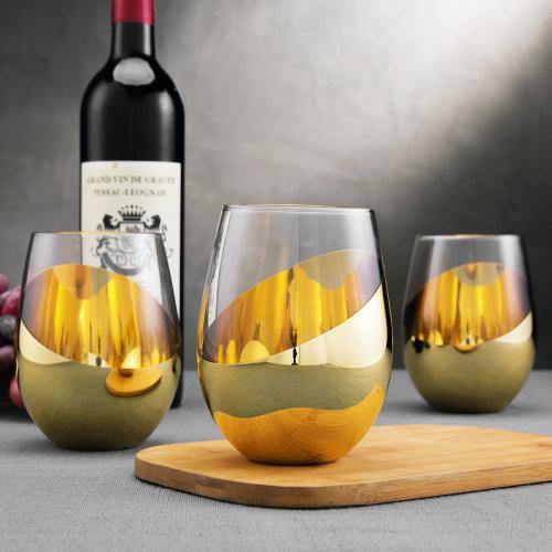 Titled Design Brass Stemless Wine Glasses, Set of 6