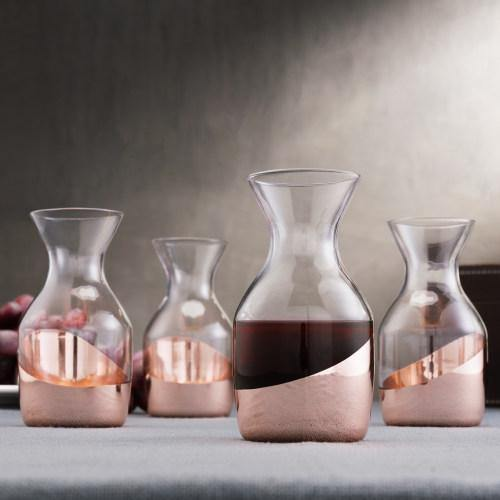 Copper Accented Serving Mini 6 oz Glass Carafes, Set of 4