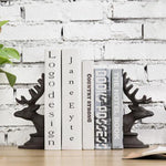 Dark Brown Cast Iron Elk Design Bookends, Set of 2