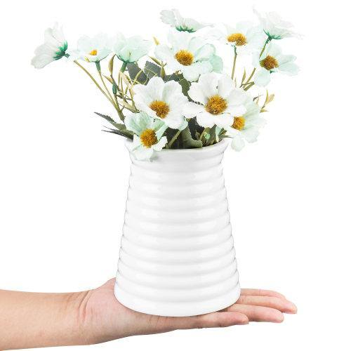 Small Ribbed Design White Ceramic Vase - MyGift