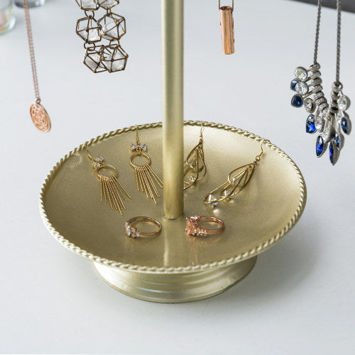 Brass-Tone Metal Jewelry Organizer Rack w/ Ring Tray-MyGift