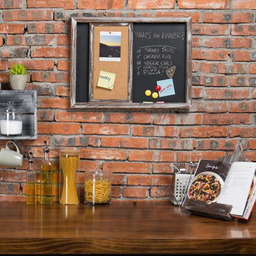 Torched Wood Wall-Mounted Magnetic Chalkboard & Sliding Cork Board